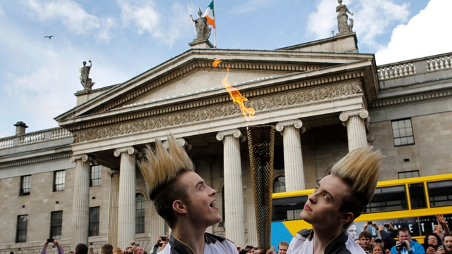 Jedward carried the torch through O'Connell Street