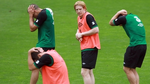 Paul McShane showed up his team-mates as a high ball went across the pitch (presumably)