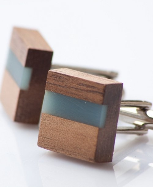 Walnut & Resin Cufflinks (available in red, green or blue) €40