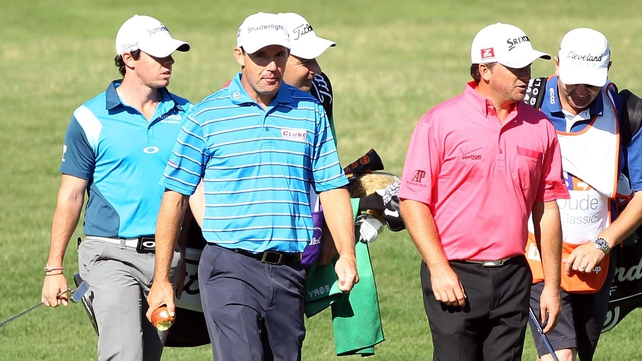 (L to R) Rory McIlroy, Padraig Harrington and Graeme McDowell during round one in Memphis