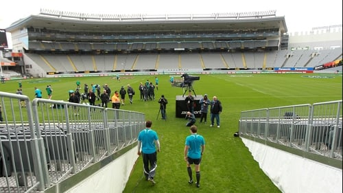 Donncha O'Callaghan and Brian O'Driscoll walk out on to the pitch at Eden Park for the captains run