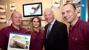 Tom Hayes of Enterprise Ireland with (l-r) Justin Conboy, Derbhaile Forde and Garrett Archbold of NUIG
