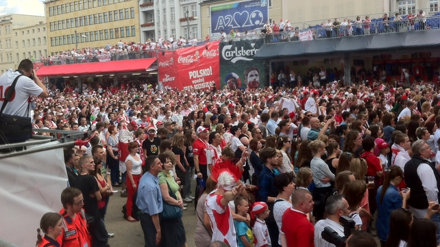 The scene from a fan camp in Poznan as the Polish fans await their first game