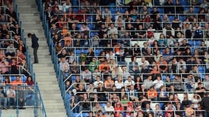 People attend the Netherlands' national football team training session at the Reymana Stadium in Krakow