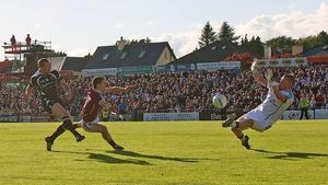 Sligo's Adrian Marren scores a goal past Galway goalkeeper Adrian Faherty
