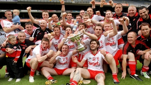 The Tyrone squad celebrate their Lory Meagher Cup win