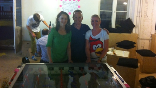 Dave in the company of the two-time World Champions of Table Football