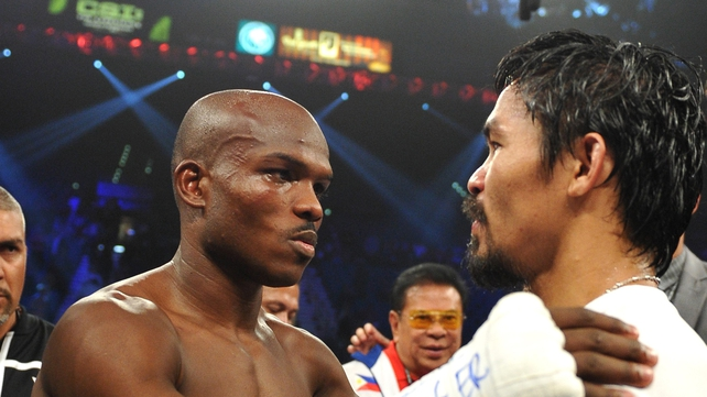 Bradley (L) is congratulated by the vanquished Pacquiao