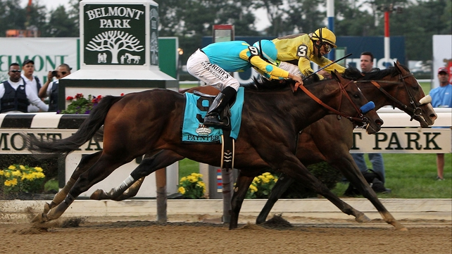 Union Rags (yellow silks) was a narrow winner of a weak renewal of the Belmont Stakes in early June