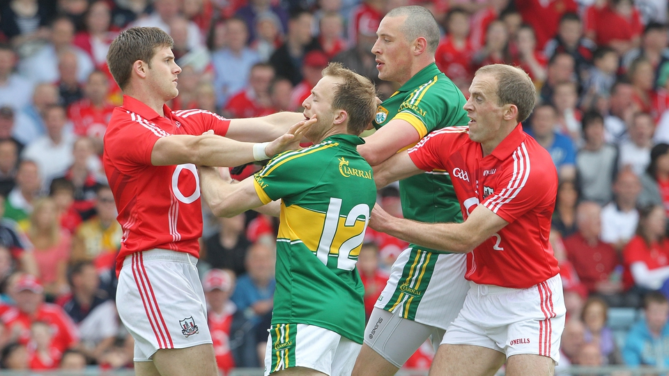 Cork's Eoin Cadogan and Paudie Kissane tangle with Kieran Donaghy and Darran O'Sullivan of Kerry