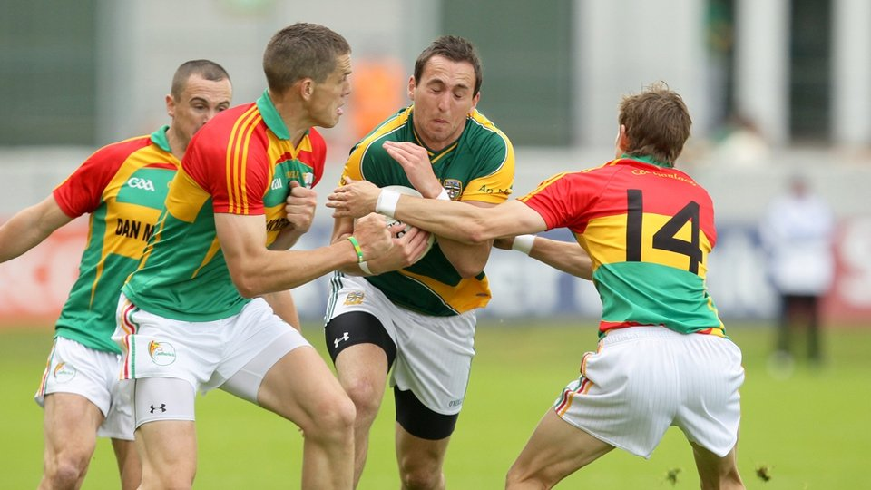 Carlow's Brendan Murphy and Sean Gannon tackle Graham Reilly of Meath