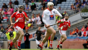 Armagh's Declan Coulter and Ronan Byrne of Louth during the Nicky Rackard Cup final
