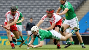 Fermanagh's Daniel Teague with Shea McKiver and Conor Grogan of Tyrone during the Lory Meagher Cup final