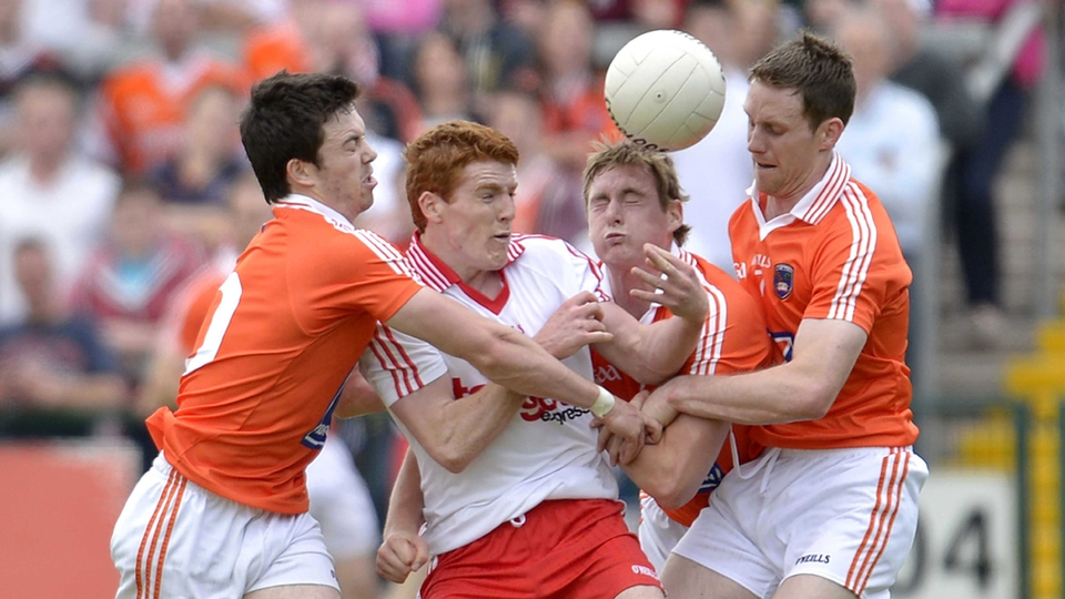 Tyrone's Peter Harte under pressure against Armagh