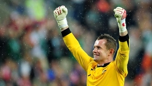 Shay Given celebrates the goal