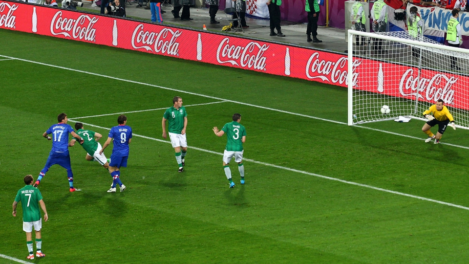 Mandzukic headed against the post but the ball rebounded off Shay Given and Ireland were 3-1 down at the start of the second half
