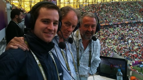 Producer Liam Nolan, Brian Kerr and Stephen Alkin were all smiles before kick-off