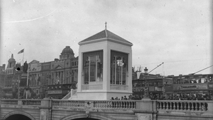 Photographs such as the above (Benediction Altar on O'Connell Bridge) are on display