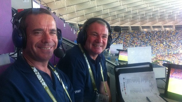 Peter Collins and Ray Houghton in the commentary box