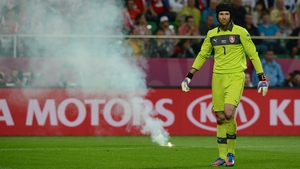 Russian fans threw flares onto the pitch against the Czech Republic