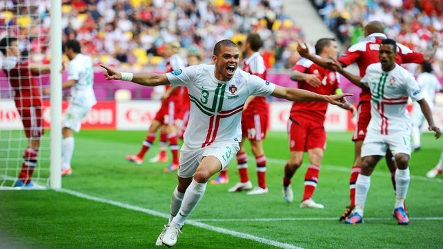 Pepe opened the scoring for Portugal in Lviv