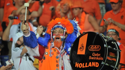 Live and let live - This supporter of the Oranje men bangs his drum and nobody bats an eyelid