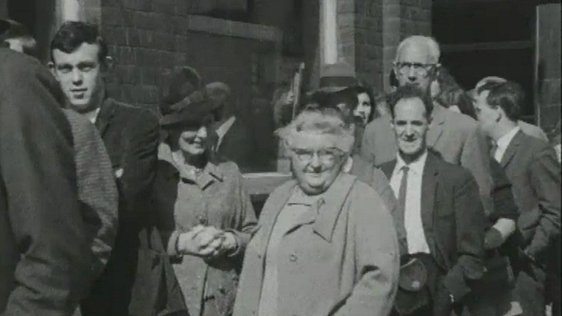 Members of the public queue outside H.M. Stationery Office to buy copies of the Cameron Report. This image is taken from a RTÉ Television News report on 12 September, 1969.