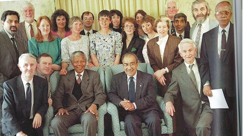Nelson Mandela meets members of the Irish Anti-Apartheid Movement in Dublin