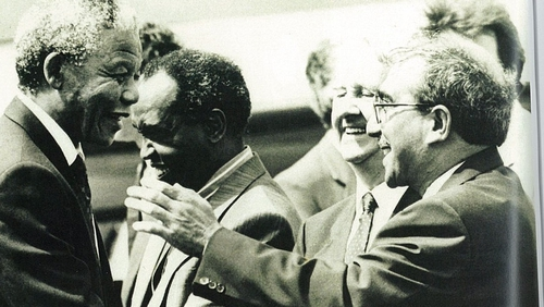 Kader Asmal meets Mandela on his first visit to Dublin after his release, June 1990