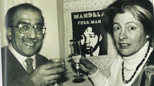 Kader Asmal and his wife celebrate the release of Mandela in their home in Dublin.