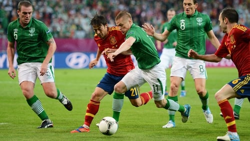 Damien Duff in action against Spain at Euro 2012