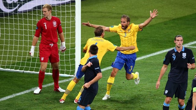 Olof Mellberg celebrates scoring for Sweden