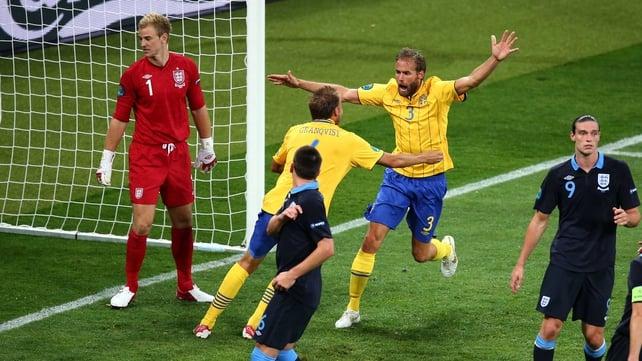 Olof Mellberg celebrates scoring for Sweden
