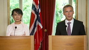 aung San Suu Kyi held a press conference with Norwegian Prime Minister Jens Stoltenberg
