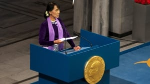 Aung San Suu Kyi accepting the award in person after 21 years