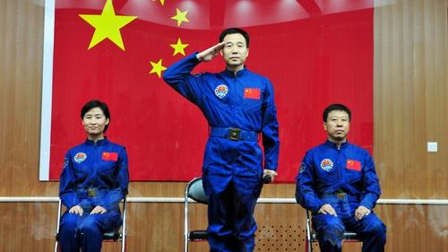 Chinese astronauts Liu Yang, Jing Haipeng and Liu Wang