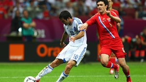Giorgos Karagounis scored the first goal of the night for Greece against Russia