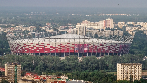 The roof will be closed at the National Stadium, Warsaw, for today's match between Poland and England