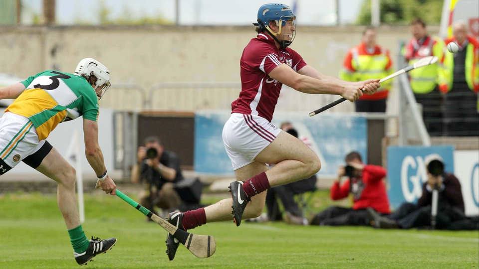 Conor Cooney scores Galway's second goal in their Leinster semi-final against Offaly in Portlaoise