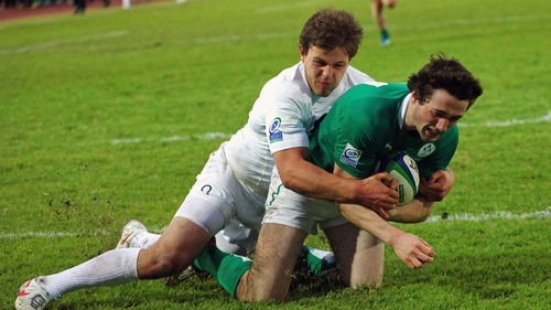 Ireland's Barry Daly goes over for a try