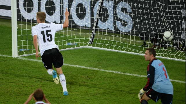 Lars Bender wheels away after scoring Germany's winner in Lviv