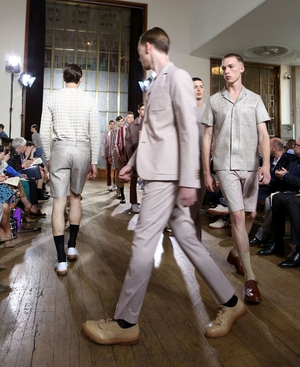 Models walk during the finale of Nicole Farhi Mens SS13 at London Collections: Men