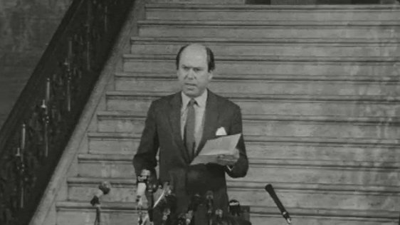 Roy Bradford, Chief Whip of the Unionist Party, announces Major Chichester-Clark as the new leader on 1 May 1969.