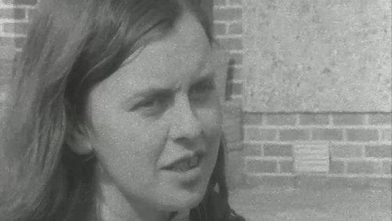 Bernadette Devlin pictured following the announcement that she has won a seat at Westminster on 18 April 1969.