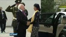 Aung San Suu Kyi welcomed to Ireland