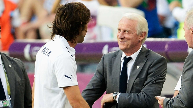 Giovanni Trapattoni and Andrea Pirlo shake hands in Poznan
