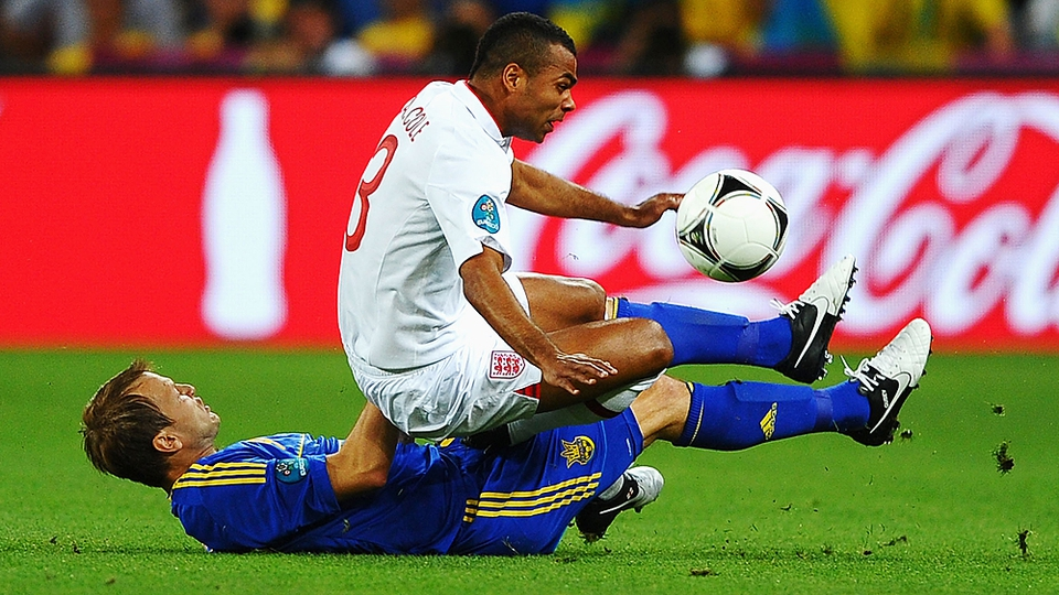 Ukraine's Oleh Husyev takes down Ashley Cole