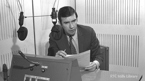 Broadcaster, Seán Duignan, who presents this news item is pictured here presenting the News Roundup of 1971. © RTÉ Stills Library 2045/009