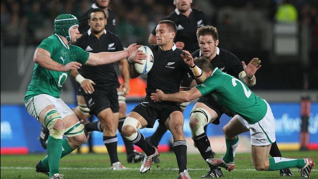 Aaron Cruden is tackled in the first Test against Ireland in Auckland