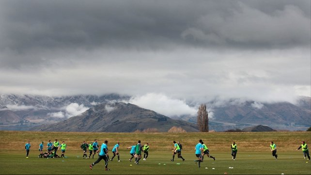 The Ireland team training ahead of their third Test on Saturday